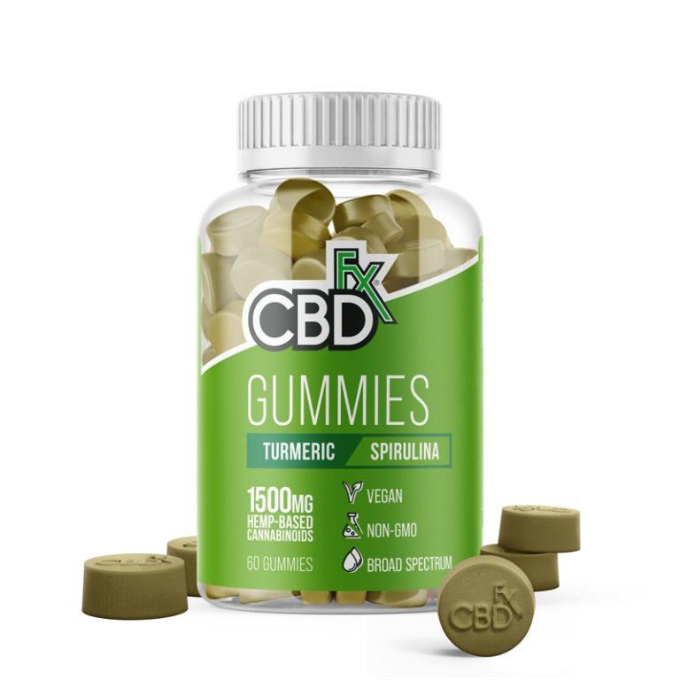 bonbons gélifiés CBDfx avec curcuma et spiruline
